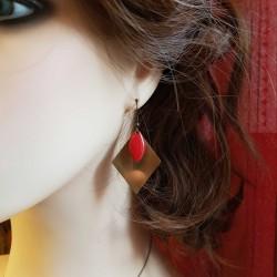 Bijoux fantaisies | boucles d'oreilles fantaisies | Boucles d'oreilles losange laiton brut