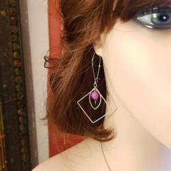 Boucles d'oreilles faits main | Bijoux créateurs lyon | Bijoux fantaisies | Boucles d'oreilles perles rose fuchsia argent