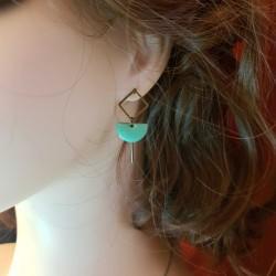 Bijoux fantaisies | boucles d'oreilles fantaisies | Boucles d'oreilles en sequin émaillé vert d'eau
