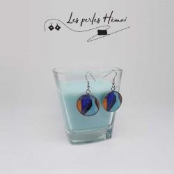 Boucles d'oreilles fantaisies | Boucles d'oreilles faits main | Boucles d'oreilles en forme de cabochon multi-couleur