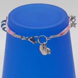 Bracelet fantaisie | Bracelet Liberty Fleurs rose | Bracelet tissus rose | Bracelets fleurs | Bijoux fantaisies