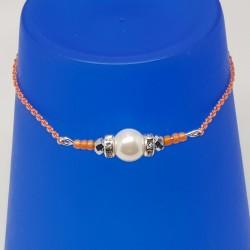 Bijoux fantaisies lyon   bracelet fantaisies lyon   Bracelet chaine orange   Bracelet perle nacré argenté