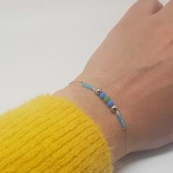 Bijoux fantaisies lyon | bracelet fantaisies lyon | Bracelet fil cablé | Bracelet perle donut bleu et vert