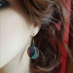 Boucles d'oreilles faits main | Boucles d'oreilles fantaisies | Boucles d'oreilles en forme de cabochon multi-couleur