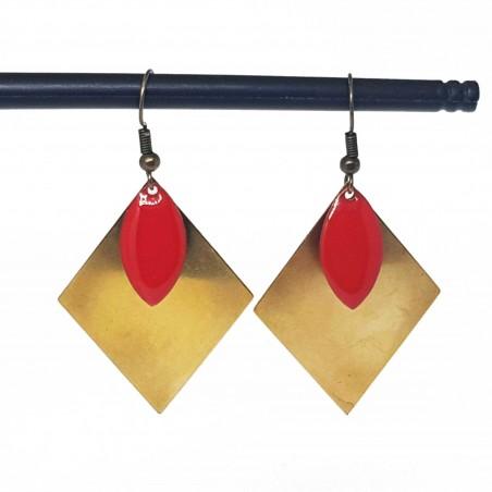 Bijoux fantaisies | boucles d'oreilles fantaisies | Boucles d'oreilles sequin émaillé rouge