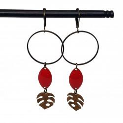 Bijoux fantaisies | boucles d'oreilles fantaisies | Boucles d'oreilles en sequin émaillé rouge vif