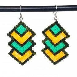 Boucles d'oreilles en perles hama | Bijoux fantaisies faits main lyon | Boucles d'oreilles orange et vert