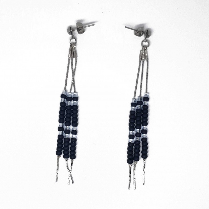 Boucles d'oreilles chaine en acier inoxydable | Bijoux fantaisies faits main lyon | Boucles d'oreilles noir