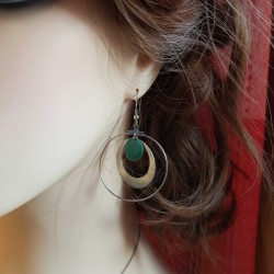 Boucles d'oreilles créoles lyon | Boucle oreille creole | boucles d'oreilles créoles argent vert