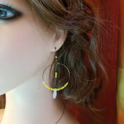 Boucles d'oreilles créole bronze fait main | Bijoux fantaisies | boucles d'oreilles jaune | Boucles d'oreilles en bronze