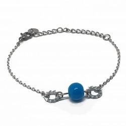 Bijoux fantaisies lyon | bracelet fantaisies lyon | Bracelet chaine argent | Bracelet perle bleu anneaux striés