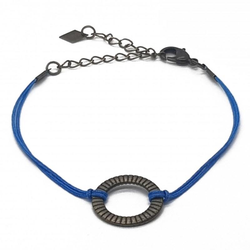 Bijoux fantaisies lyon | bracelet fantaisies lyon | Bracelet cordon bleu satiné | Bracelet cordon et anneau bronze