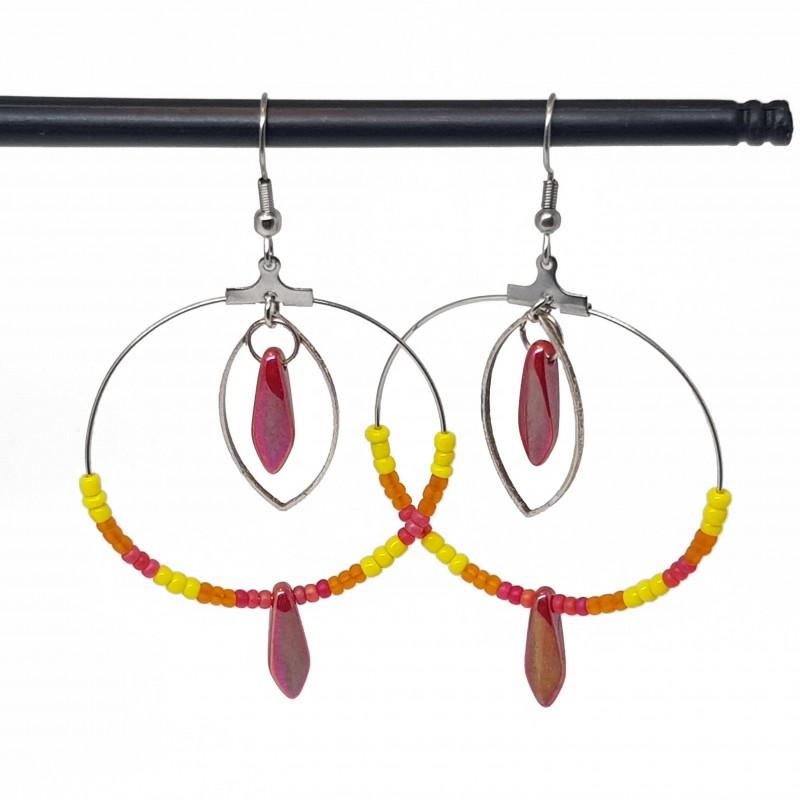 Boucles d'oreilles créoles lyon | Boucle oreille creole | boucles d'oreilles créoles rouge et jaune