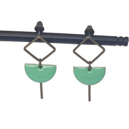 Bijoux fantaisies   boucles d'oreilles fantaisies   Boucles d'oreilles en sequin émaillé vert d'eau