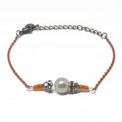 Bijoux fantaisies lyon | bracelet fantaisies lyon | Bracelet chaine orange | Bracelet perle nacré argenté