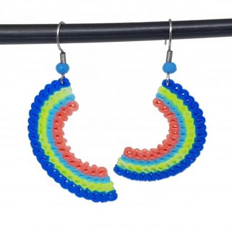 Boucles d'oreilles en perles hama | Bijoux fantaisies faits main lyon | Boucles d'oreilles bleu et vert