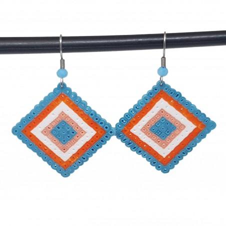 Boucles d'oreilles en perles hama | Bijoux fantaisies faits main lyon | Boucles d'oreilles bleu et orange