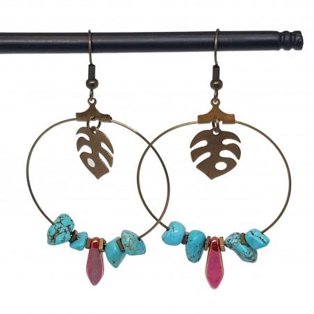 Boucles d'oreilles créoles lyon | Boucle oreille creole | boucles d'oreilles créoles howlite bleu turquoise
