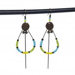 Boucles d'oreilles créoles gouttes | Bijoux fantaisies faits main lyon | Boucles d'oreilles en bronze vert, jaune et bleu