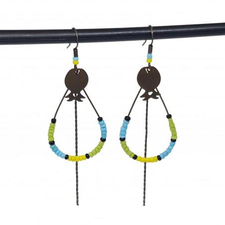 Boucles d'oreilles créoles gouttes   Bijoux fantaisies faits main lyon   Boucles d'oreilles en bronze vert, jaune et bleu