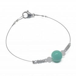 Bracelet fantaisies lyon | Bracelet faits main lyon | Bracelet fil cablé | Bracelet perle verte