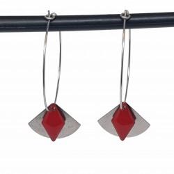 Boucles d'oreilles créoles acier inoxydable | Bijoux fantaisies faits main lyon | Boucles d'oreilles en acier rouge