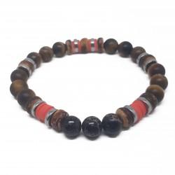 Bijoux homme | bracelet homme | bracelet œil de tigre | bracelet marron | Bracelet regalite | bracelet hématite
