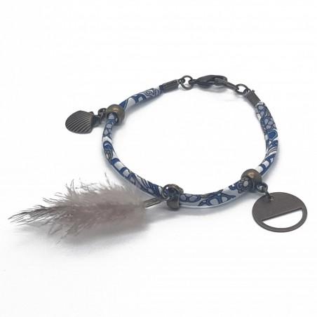 Bracelet fantaisies   Bracelet Liberty Fleurs bleu   Bracelet tissus bleu   Bracelets fantaisies lyon   bijoux fantaisies