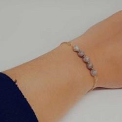 Bracelet fantaisies lyon | Bracelet chaine doré | Bracelet acier inoxydable pierre de Maifan | Bracelet pierres naturelles