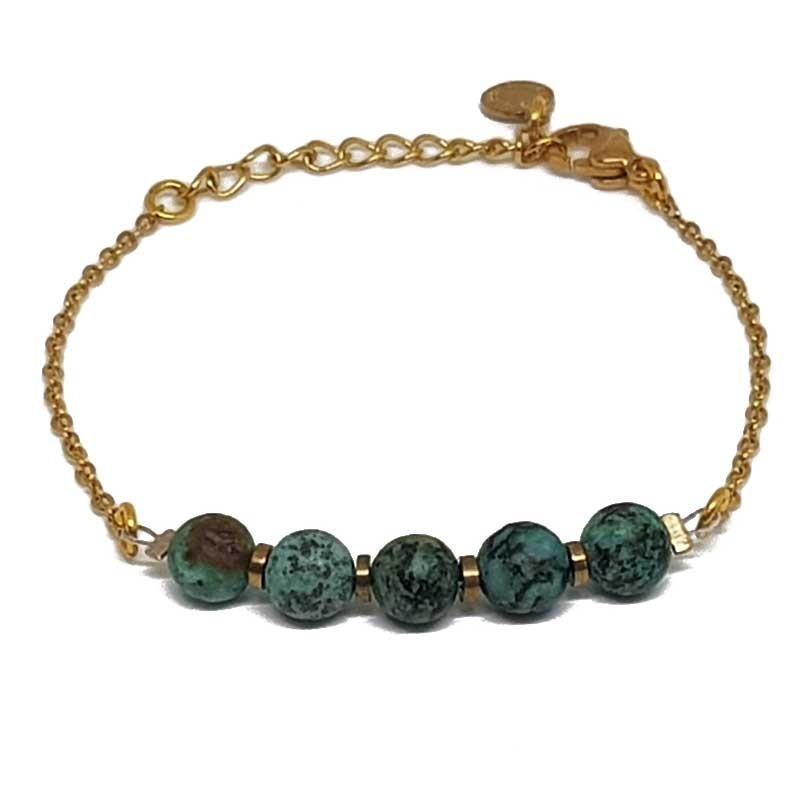 Bracelet fantaisies   Bracelet chaine doré   Bracelet acier inoxydable perles turquoise africaine   Bracelet pierres naturelles