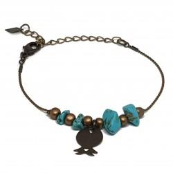Bracelet fantaisies | Bracelet chaine bronze | Bracelet bronze perles turquoise | Pierres naturelles Howlite