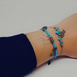BBracelet fantaisies | Bracelet chaine bronze | Bracelet bronze perles turquoise | Pierres naturelles Howlite