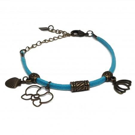 Bracelet fantaisies | Bracelet cordon daim | Bracelet cordon turquoise | Bracelet bronze | bracelet breloques bronzes