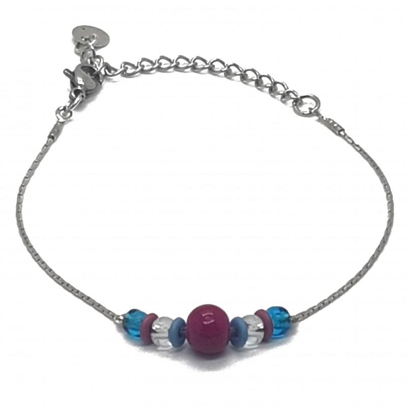 Bijoux fantaisies lyon   bracelet fantaisies lyon   Bracelet chaine argent et perles   Bracelet chaine perles rose et bleu