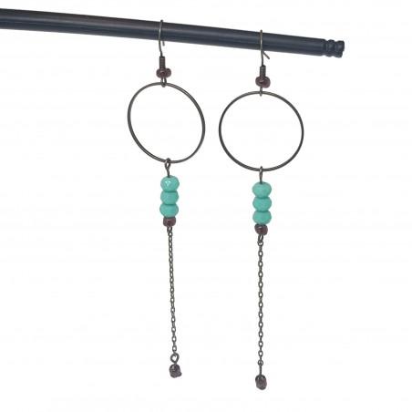 Bijoux bronze | boucles d'oreilles bronze | Boucles d'oreilles perles vertes turquoise | perles donut