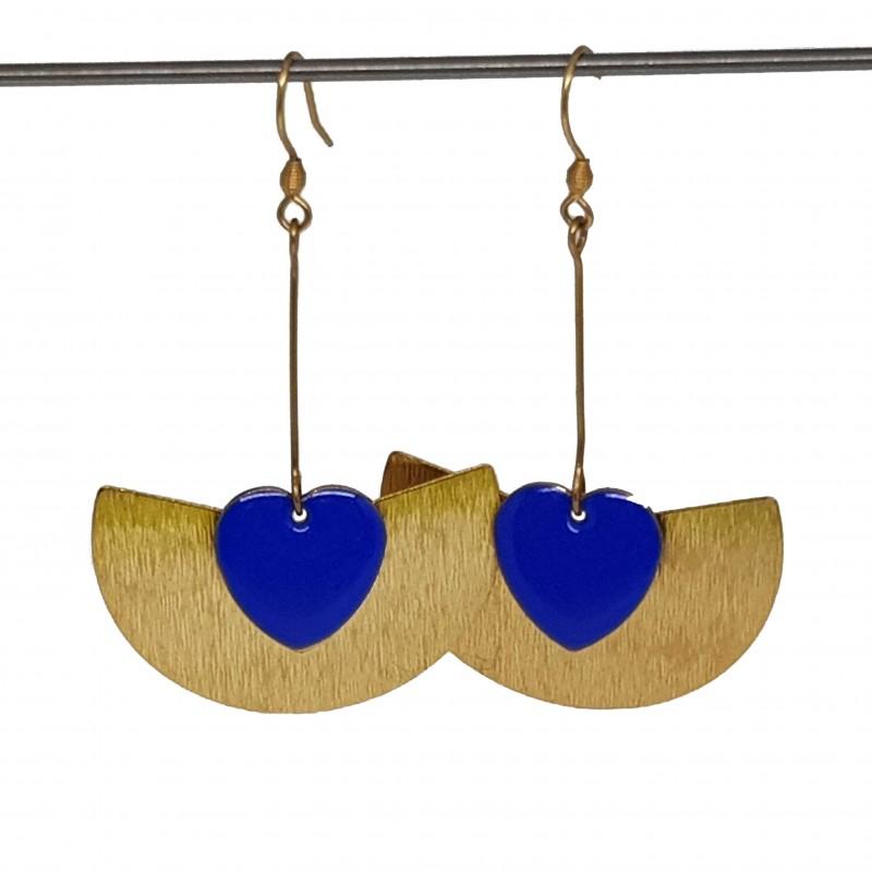 Boucles d'oreilles acier inoxydable doré | Bijoux fantaisies faits main lyon | Boucles d'oreilles sequin émaillé bleu coeur