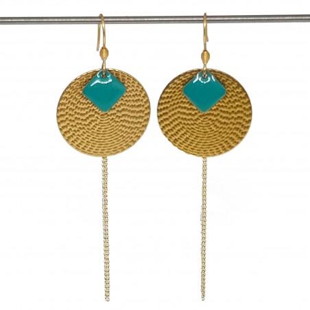 Boucles d'oreilles acier inoxydable doré | Bijoux fantaisies faits main lyon | Boucles d'oreilles sequin émaillé turquoise