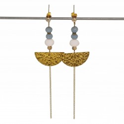 Boucles d'oreilles doré | Boucles d'oreilles laiton brut | Bijoux fantaisies faits main lyon | Boucles d'oreilles hématite