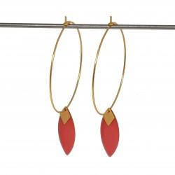 Boucles d'oreilles créoles acier inoxydable | Bijoux fantaisies faits main lyon | Boucles d'oreilles dorées sequin émaillé