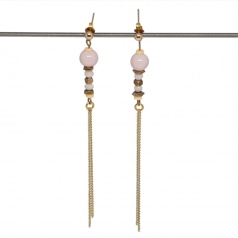 Boucles d'oreilles doré | Boucles d'oreilles pendantes | Bijoux fantaisies faits main lyon | Boucles d'oreilles hématite