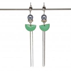 Boucles d'oreilles pendantes | Boucles d'oreilles élégantes |  Bijoux fantaisies faits main lyon | Boucles d'oreilles hématite