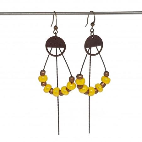 Boucles d'oreilles créoles gouttes | Bijoux fantaisies faits main lyon | Boucles d'oreilles en bronze jaune et cuivre