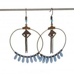 Boucles d'oreilles créoles fait main | boucles d'oreilles fait main lyon | Boucles d'oreilles en bronze originales