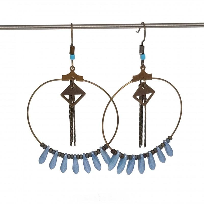 Boucles d'oreilles créoles fait main   boucles d'oreilles fait main lyon   Boucles d'oreilles en bronze originales