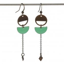 Boucles d'oreilles pendante bronze | Boucles d'oreilles fait main | boucles d'oreilles lyon | Bijoux en bronze