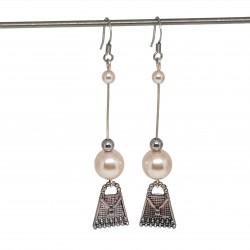 Boucles d'oreilles faits main | Bijoux créateurs lyon | Bijoux fantaisies | Boucles d'oreilles perles nacrées rose