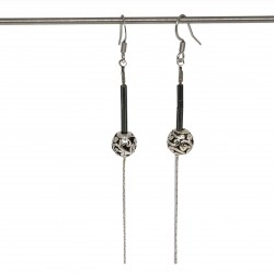 Boucles d'oreilles faits main | Bijoux créateurs lyon | Bijoux fantaisies | Boucles d'oreilles perles gris métallisé
