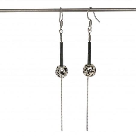 Boucles d'oreilles faits main   Bijoux créateurs lyon   Bijoux fantaisies   Boucles d'oreilles perles gris métallisé