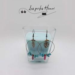Boucles d'oreilles créoles fait main | Boucle oreille pendantes fait main | boucles d'oreilles créoles howlite bleu turquoise