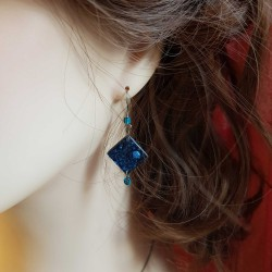 Boucles d'oreilles cd recyclé | Boucles d'oreilles argent | Bijoux fantaisies | Boucles d'oreilles recyclées | Bleu